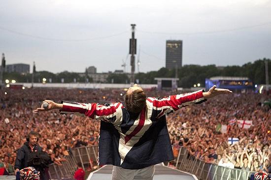 Simon Le Bon of Duran Duran performs in Hyde Park